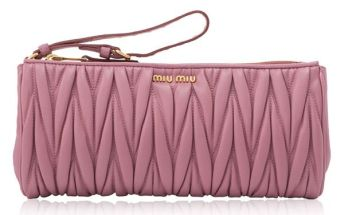 Miu Miu pink matelassé wristlet as seen on Rihanna