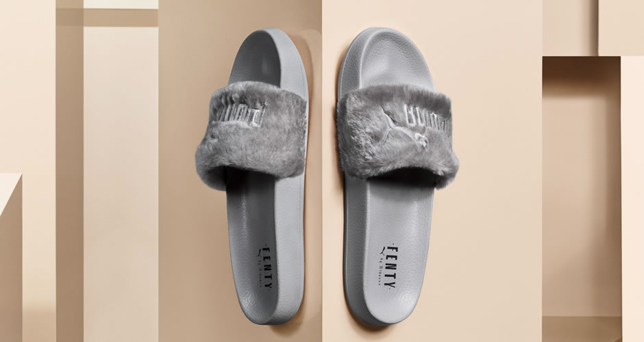 fenty puma x rihanna grey fur slide haus of rihanna. Black Bedroom Furniture Sets. Home Design Ideas