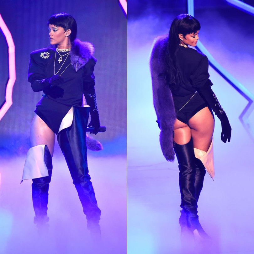 Rihanna Vetements Juicy Couture rhinestone velvet gloves and over-the-knee black boots