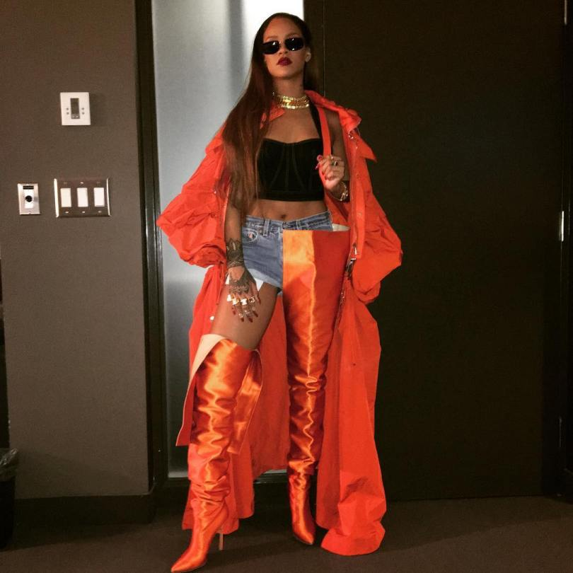 Rihanna Fengchen Wang orange coat OVO Fest spring 2017, Vetements Spring 2017 menswear orange thigh-high boots, Azzedine Alaia vintage denim bustier top