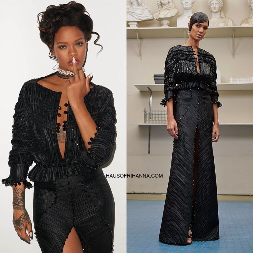 Rihanna CR Fashion Book Givenchy Fall 2016 couture black dress, Isaiah Garza lace cz choker