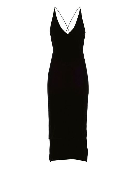 Dion Lee black velvet cami slip dress as seen on Rihanna