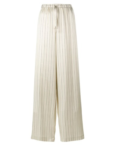 Dries Van Noten Pavlova pinstripe wide leg satin trousers as seen on Rihanna