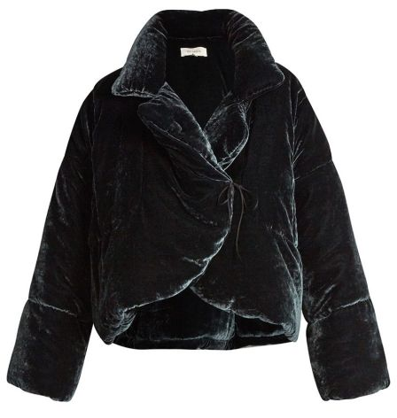 Isa Arfen padded velvet jacket as seen on Rihanna