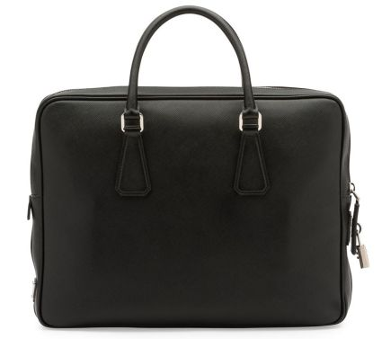 Prada Saffiano leather briefcase with padlock as seen on Rihanna