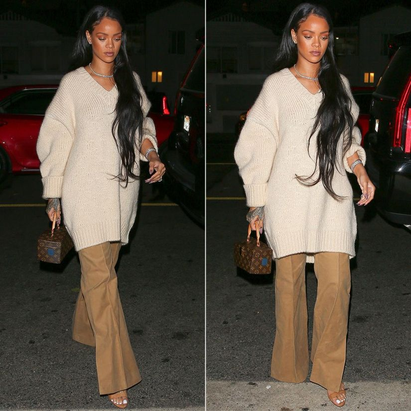 Rihanna Celine Fall 2016 sweater and pants, Louis Vuitton x Frank Gehry Twisted Box handbag, Hearts on Fire three prong diamond necklace and diamond stud earrings