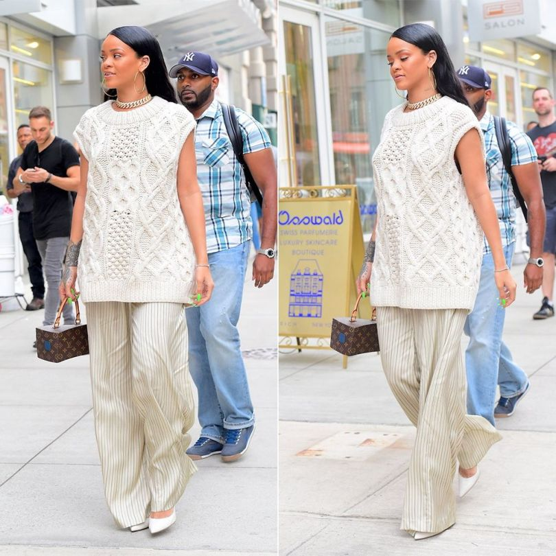 Rihanna Dries Van Noten cable knit sweater sleeveless and Pavlova pinstripe wide leg satin trousers, Gianvito Rossi whtie Gianvito pumps, Louis Vuitton x Frank Gehry twisted box bag, Jacob and Co Cuban link chain