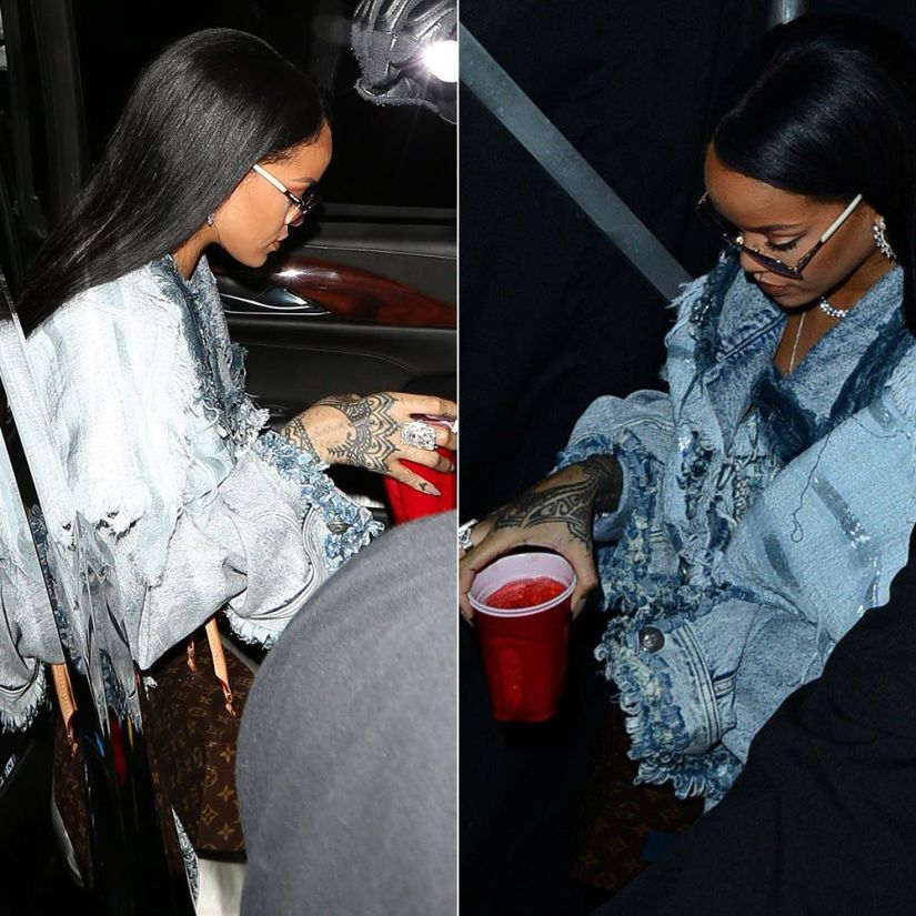 Rihanna Faith Connexion frayed oversized denim jacket resort 2017, Louis Vuitton x Frank Gehry twisted box bag
