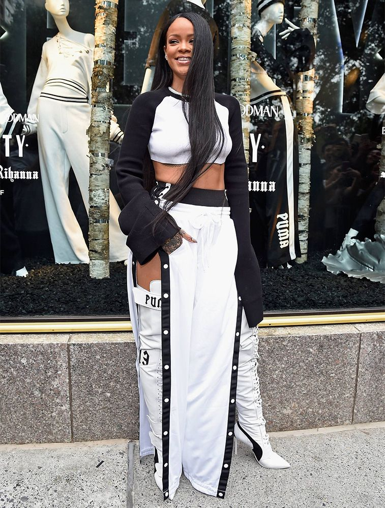 Rihanna Fenty Puma black white kimono crop top, tear away track pants, lace-up high cut briefs, thigh high Eskiva boots