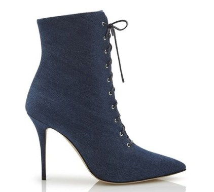 Rihanna x Manolo Blahnik dark wash Dancehall Cowgirl denim ankle boots