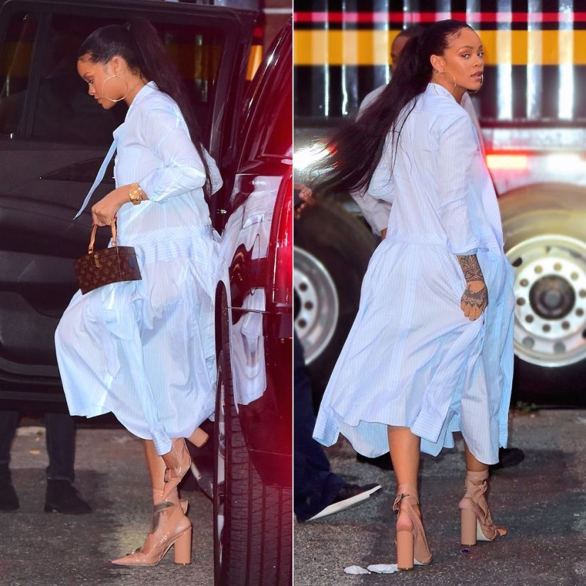 Rihanna Thom Browne blue striped shirt dress, Dior Conquest pumps, Louis Vuitton Twisted Box handbag, Chopard Happy Hearts pave diamond bracelet