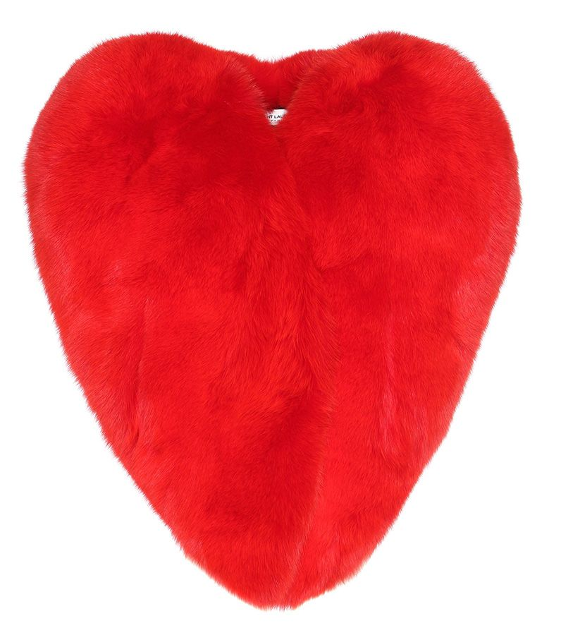 Saint Laurent red heart fur cape jacket as seen on Rihanna
