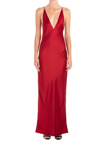 Are You Am I Nyissa red satin slit dress as seen on Rihanna