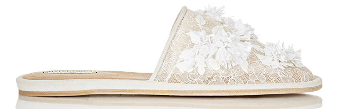 Balenciaga beaded embroidered lace slippers as seen on Rihanna