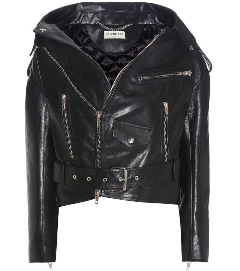 Balenciaga Swing cropped leather biker jacket as seen on Rihanna