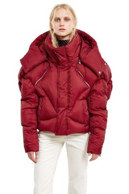 Chen Peng burgundy puffer jacket as seen on Rihanna
