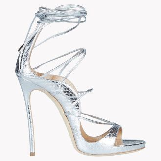 Dsquared2 Riri silver python sandals as seen on Rihanna