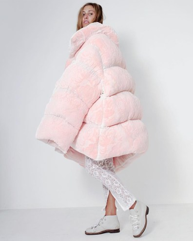 Ella Boucht pink velvet burnout oversize puffer coat as seen on Rihanna