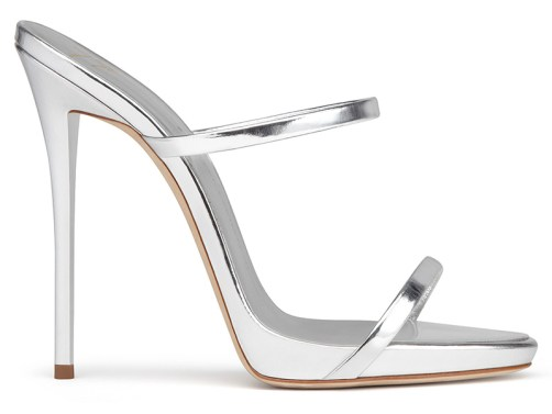 Giuseppe Zanotti Darsey mirrored silver sandals as seen on Rihanna