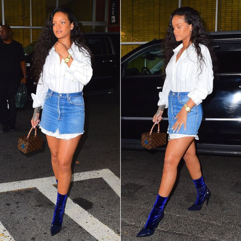 Rihanna Balenciaga velvet sock boots, Vetements striped shirt and denim mini skirt, Louis Vuitton x Frank Gehry twisted box handbag