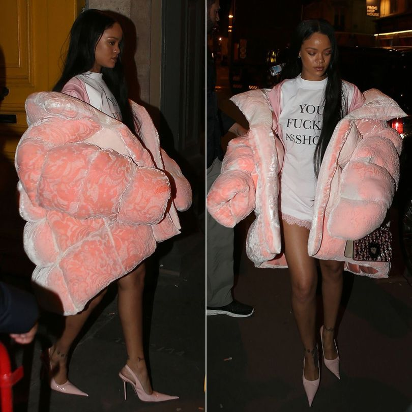 Rihanna Ella Boucht pink oversize puffer coat, Vetements you fuck'n asshole t-shirt, RoSa pointed toe slingback pumps, Dior Diorama Club monogram handbag, Fenty x Puma pink lace shorts