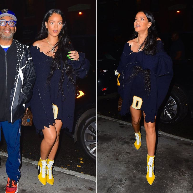 Rihanna Raf Simons blue destroyed sweater dress, Fenty x Puma yellow sneaker boots, Louis Vuitton Twisted Box handbag, Rafaello and Co ankh necklace