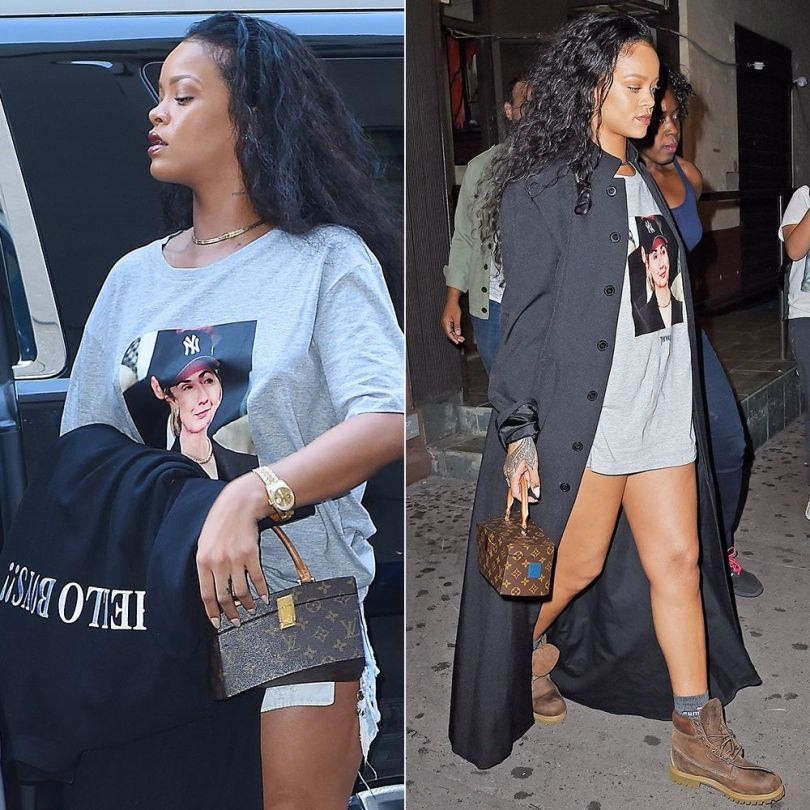Rihanna Trapvilla Hillary Clinton t-shirt, Levi's grommet shorts, Puma crew socks, Timberland brown burnished waterproof boots, Louis Vuitton Twisted Box handbag, Vetements Hello Boys black floor-length coat