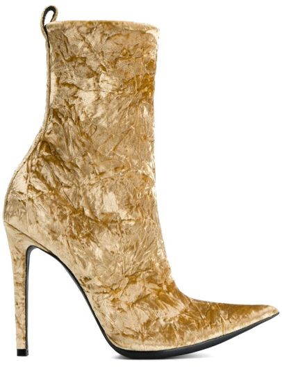 Haider Ackermann creased velvet ankle boots as seen on Rihanna