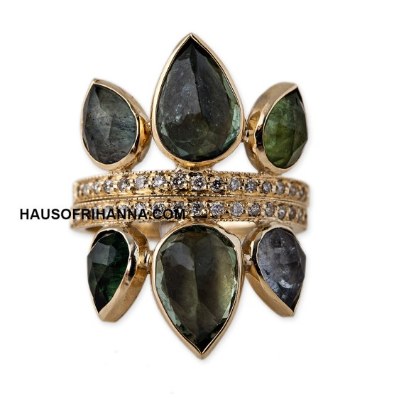 Jacquie Aiche green tourmaline petal crown rings as seen on Rihanna
