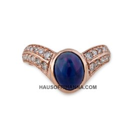 Jacquie Aiche rose gold two row blue opal oval ring as seen on Rihanna