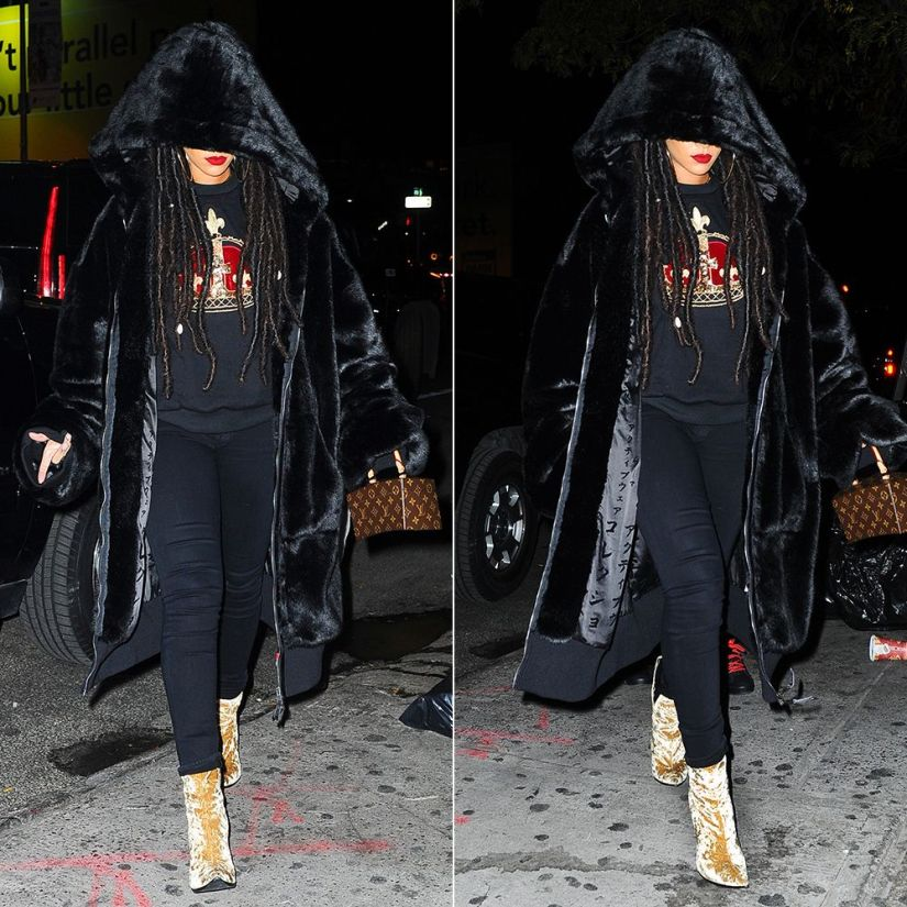 Rihanna Haider Ackermann velvet ankle boots gold, Fenty x Puma oversized faux fur bomber jacket, Louis Vuitton Twisted Box handbag, Citizens of Humanity Avedon Axel black skinny jeans