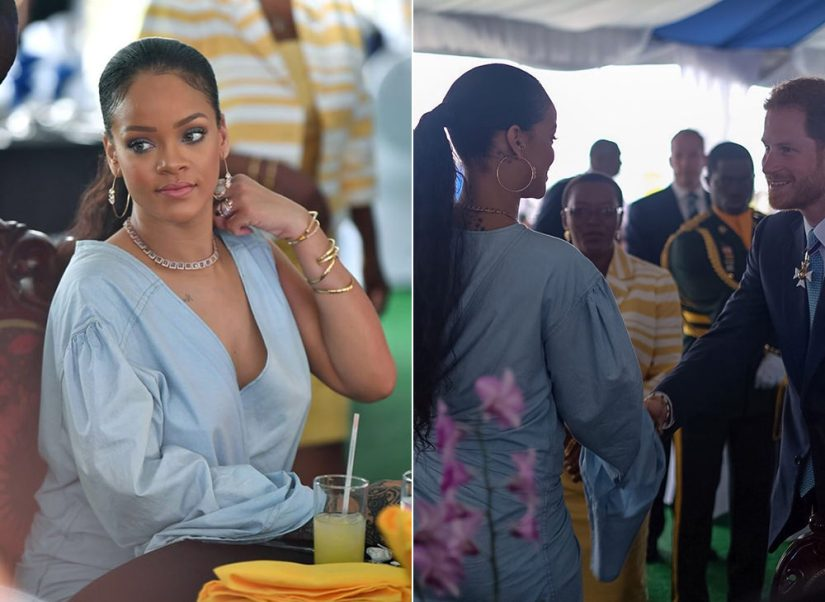Rihanna Matthew Adams Dolan denim wrap dress, Jacquie Aiche hoop earrings and tiara ring Prince Harry meeting Barbados