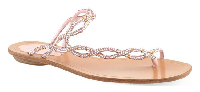 Rene Caovilla crystal-embellished asymmetrical sandals as seen on Rihanna