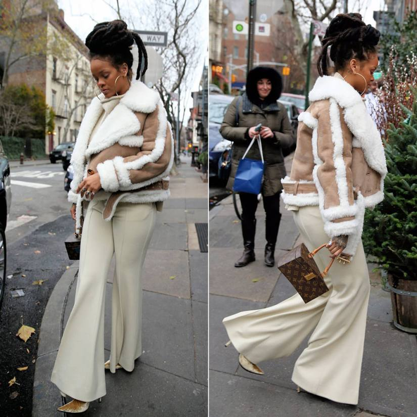 Rihanna Burberry shearling biker jacket pre-fall 2016, Celine Fall 2016 wide leg trousers, Louis Vuitton Twisted Box handbag, Haider Ackermann yellow velvet ankle boots, Jacquie Aiche cameo ring and Hanalei raw diamond ring