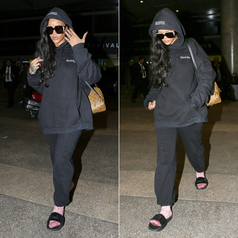 Rihanna Gucci flip sunglasses Resort 2017, Vetements black hoodie, Fenty x Puma pink socks and black fur slides, Louis Vuitton Palm Springs Mini backpack, Jacquie Aiche cameo rings