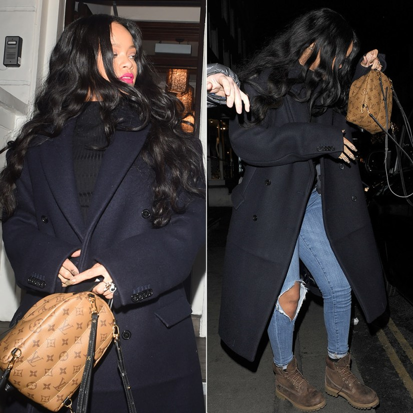Rihanna Vetements double breasted coat and ribbed turtleneck Fall 2016, Timberland brown burnished boots, Louis Vuitton Palm Springs Mini backpack, Jacquie Aiche rings
