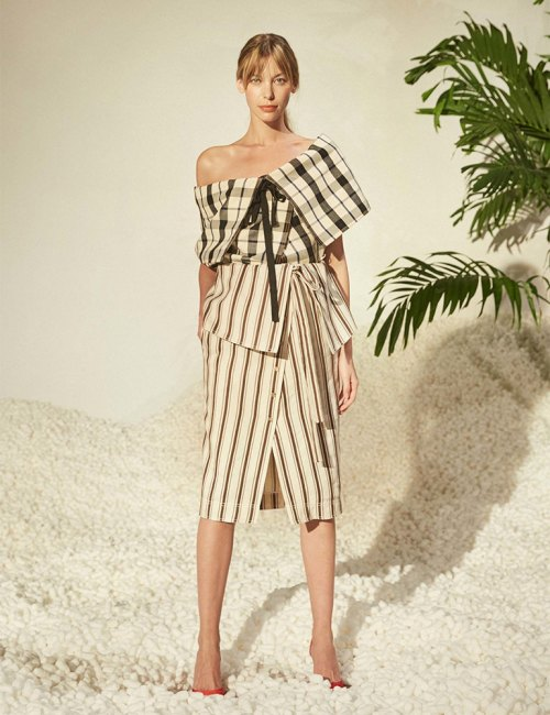 Rosie Assoulin Spring 2017 plaid off-the-shoulder top and fold-over striped wrap skirt as seen on Rihanna