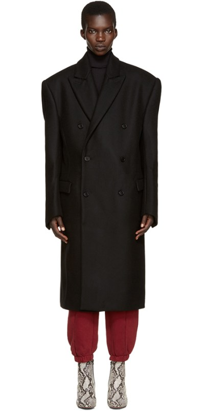 Vetements black oversize double-breasted coat as seen on Rihanna