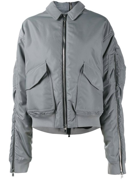 Y/Project grey zip sleeve bomber jacket as seen on Rihanna