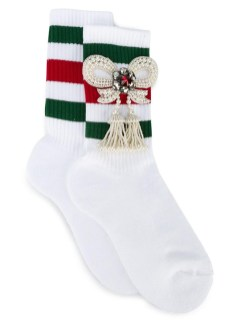 Gucci Little William bow-embellished tassel socks as seen on Rihanna