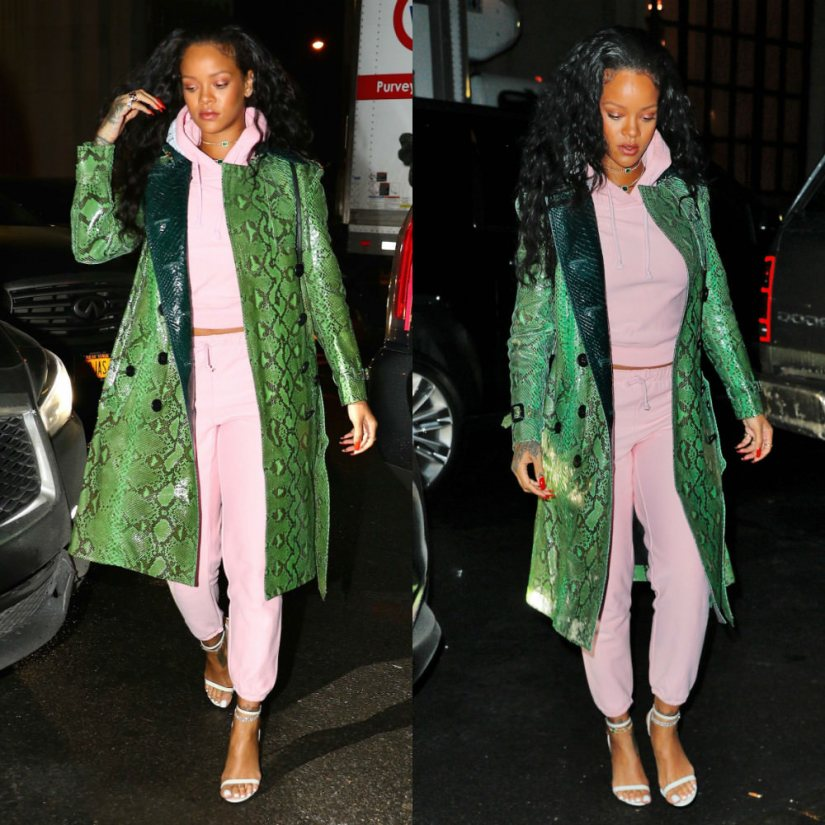 Rihanna Burberry python trench coat, Vetements x Champion pink hoodie and sweatpants, Tom Ford white padlock sandals, Louis Vuitton Palm Springs Mini backpack in Monogram Reverse, Jacquie Aiche cameo ring