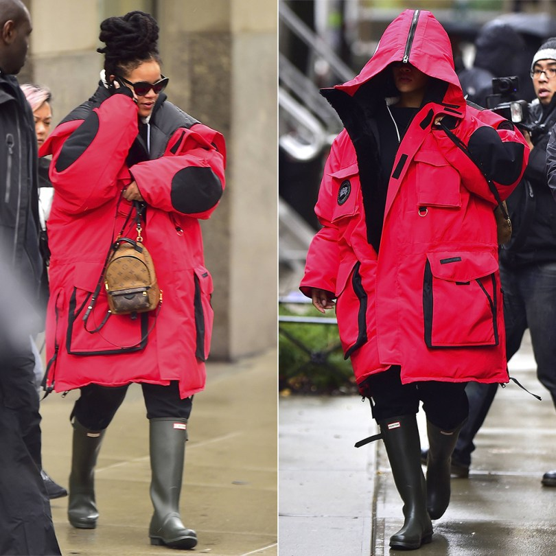 Rihanna Vetements Canada Goose red parka Snow Mantra, Hunter Original Tall Boot, Louis Vuitton Palm Springs Mini backpack