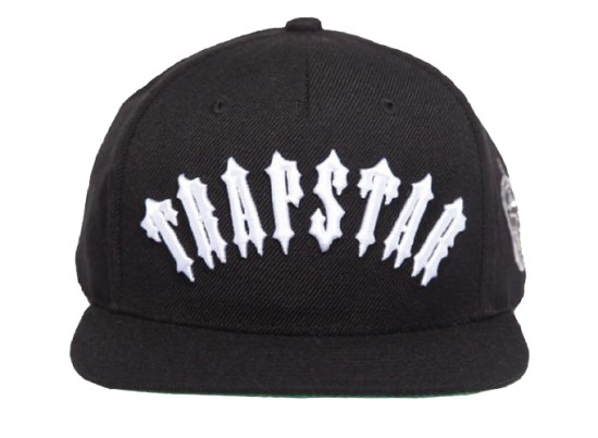 Trapstar Irongate black snapback cap as seen on Rihanna