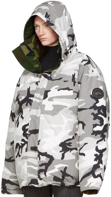 Vetements x Canada Goose reversible camo parka jacket as seen on Rihanna