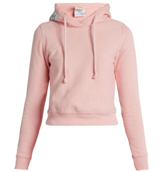 Vetements x Champion pink hooded sweatshirt as seen on Rihanna