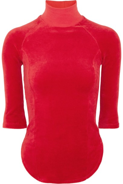 Vetements x Juicy Couture red velour top as seen on Rihanna