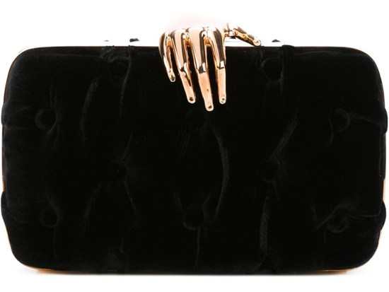 Benedetta Bruziches black velvet Carmen clutch as seen on Rihanna