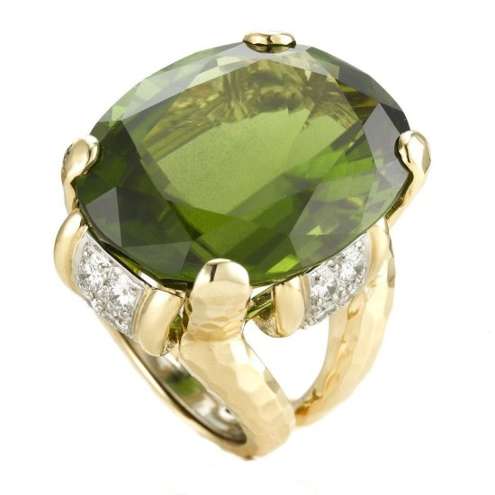 David Webb peridot, diamond and gold ring as seen on Rihanna