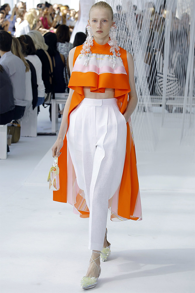 Delpozo Spring 2017 striped top and white trousers as seen on Rihanna Roc Nation brunch