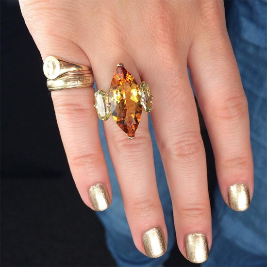 Jane Taylor 18k yellow gold, citrine, yellow beryl and diamond Lion Tamer ring as seen on Rihanna